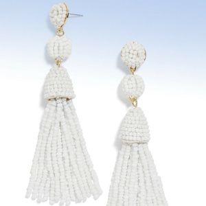 BaubleBar 'Granita' White Beaded Tassel Earrings